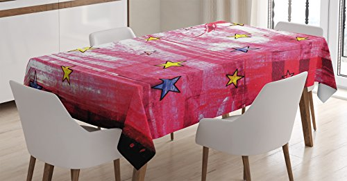 Ambesonne House Decor Tablecloth, Little Luminous Stars Over Grunge Retro Style Background Solar Celestial Theme Art, Dining Room Kitchen Rectangular Table Cover, 60 X 84 inches by Ambesonne