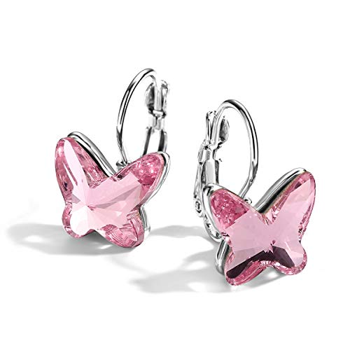 (T400 Blue Purple Pink Butterfly Earrings Made with Swarovski Elements Crystal Lever Back ♥ Birthday Gift for Women Girls)