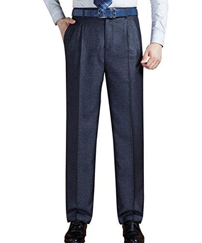Pantalon Avant Plat Coupe Droite Hommes Yffushi Pantalon Plissé Front Couleur Unie 373 # Gris