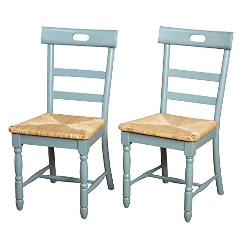 Target Marketing Systems Briana Series Contemporary Country Style Woven Wooden Crafted Dining Chairs, Blue, Set of 2 (Target Wicker Chairs)