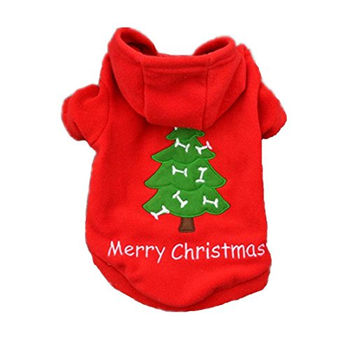 GUAngqi Dog Tree Coat Pet Doggy Merry Christmas Thick Dress Clothes Santa Claus Costume Outwear