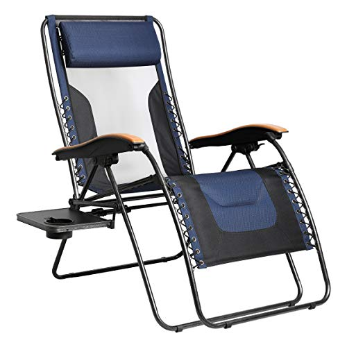 PORTAL Oversized Mesh Back Zero Gravity Recliner Chairs, XL Padded Seat Adjustable Patio Lounge Chair with Lumbar Support Pillow and Side Table Support 350lbs