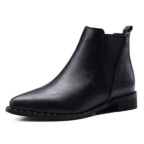 AllhqFashion Womens Pointed Closed Toe Low Top Low Heels Solid PU Boots, Black, 38