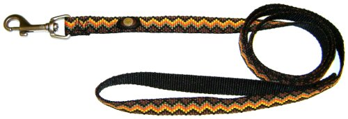 Hamilton 5/8-Inch Single Thick Nylon Lead with Swivel Snap, 6-Foot Long, Weave In Brown, Orange, Yellow and Black, My Pet Supplies