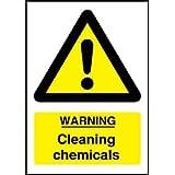 """Symbole d'avertissement pour produits chimiques nettoyants """"Warning Cleaning chemicals"""", 15 x 20 cm – autocollant d'avertissement en vinyle pour COSHH"""