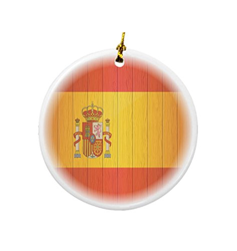 Rikki Knight Spain Flag on Distressed Wood Design Round Porcelain Two-Sided Christmas Ornaments by Rikki Knight