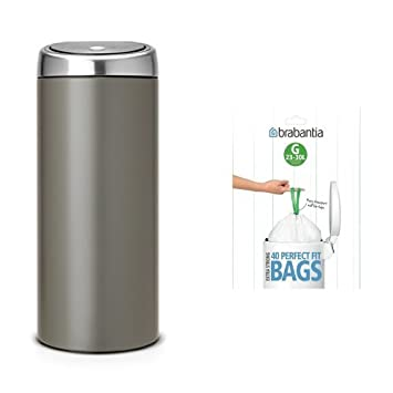 Brabantia Touch Bin 30 Liter Mat.Brabantia Touch Bin With Bin Liners 30 L Platinum With Matt Steel Lid