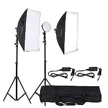 Andoer LED Photography Studio Lighting Light Kit with 2 * 30W LED Lamp + 2 * Softbox * 2 * Light Stand + 1 * Carrying Bag