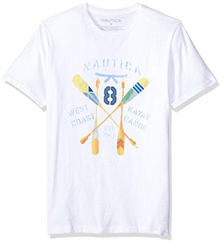 Nautica Men's Short Sleeve Signature Graphic Crewneck T-Shirt, BW/Bright White, (Nautica White Shirt)