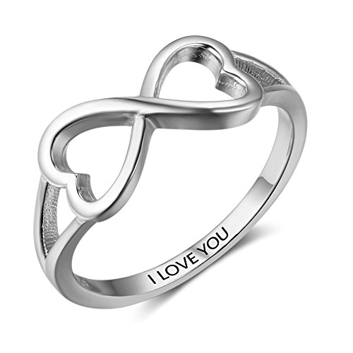 SILBERTALE 925 Sterling Silver Double Heart Infinity Promise Ring Band I Love You Size 6