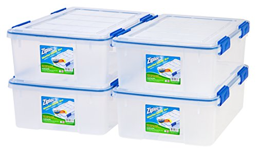 - Ziploc WeatherShield 26.5 Quart Storage Box, 4 Pack, Clear
