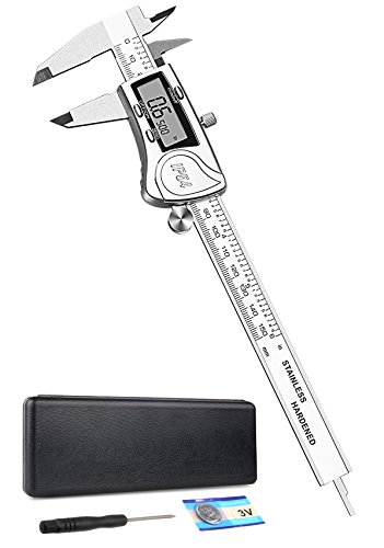 Electronic Digital Caliper 6 inch - Full Stainless Steel Metal Vernier Caliper Measuring Tool with Case LCD Screen SAE Metric Fractions and Auto Off Function, IP54 Waterproof, by Tcisa (Caliper Measuring Tool)