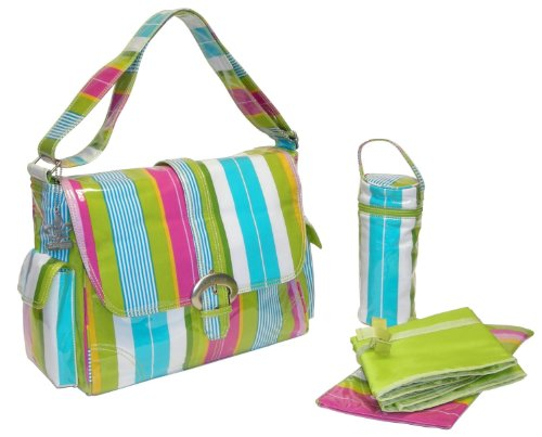 Kalencom Laminated Buckle Bag, Paradise Stripes Aqua