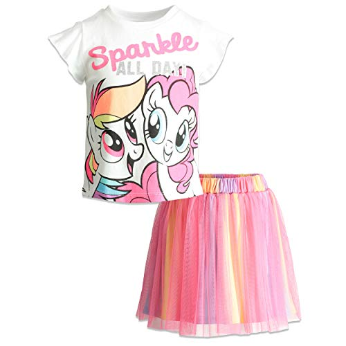 My Little Pony Toddler Girls' Fashion T-Shirt and Tulle Skirt Set, White (3T) -