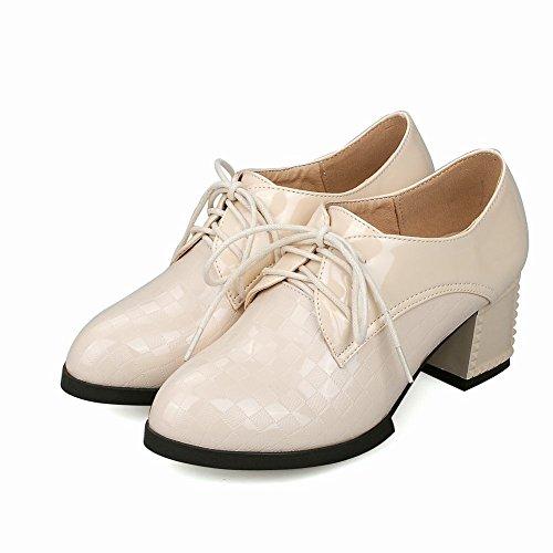 Mee Shoes Damen bequem chunke heels Plaid Schnürhalbschuhe Beige