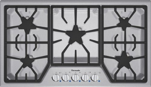 Thermador : SGS365FS 36 Gas Cooktop with 5 Star Burners - Stainless Steel w/ Blue Indicator Lights