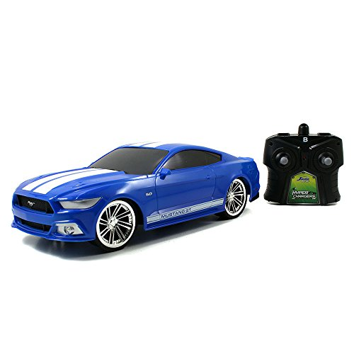 Jada Toys HyperChargers 1 16 Big Time Muscle R/C 2015 Mustang GT Vehicle, Blue with White - Mustang Blue