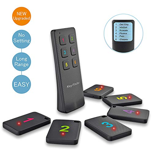 Key Finder, 6 in 1 Lost Items Locator Wireless Tracker Tag w Loud Alarm Beeper Upgraded Battery Long Distance, Find My Keys Remote Control Phone Purse Pet Dog Cat Wallet Glasses Device by Plafnio (Remote Control Locator)