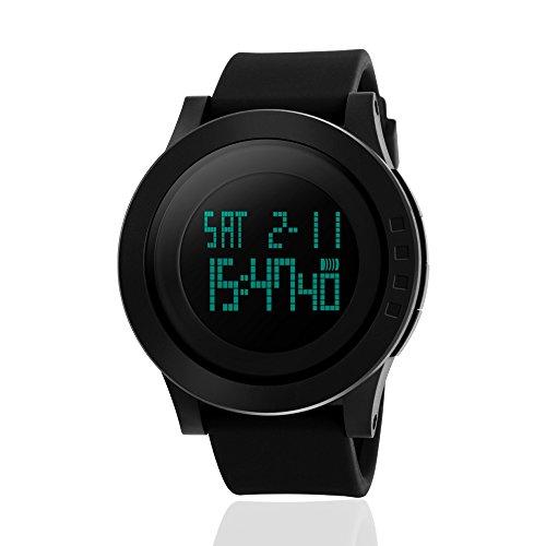 JOYSAE Digital Watches, Upgraded Fashion Large Face Military Waterproof Wristwatch Minimalist Sports Casual Watch Gift Idea - Black