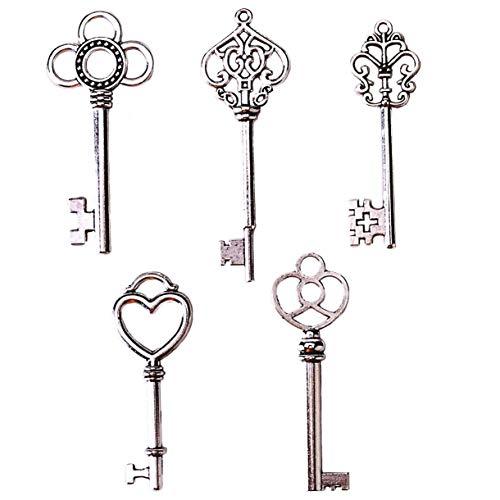 SL crafts Mixed Set of 50 Skeleton Keys Key charms in Antique Silver 53-68mm from SL crafts