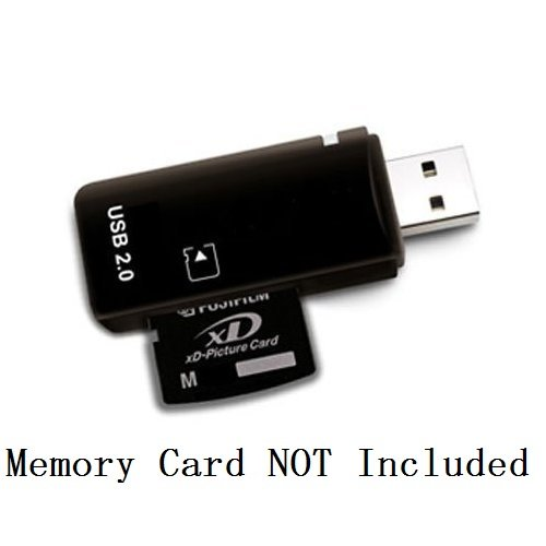 eTECH USB2.0 Black Color High Speed xD Memory Card Reader Supports Olympus and Fuji XD Picture Card 1GB 2GB
