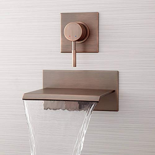 "Signature Hardware 378995 Lavelle 6-1/2"" Waterfall Wall Mounted Tub Filler with Metal Lever Handle Diverter"