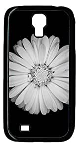 White Flower Black Background Hard Cover Back Case For Samsung Galaxy S4,PC Black Case for Samsung Galaxy S4 i9500