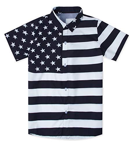 Uideazone Boys American Flag Button Down Shirt Patriotic USA Black White Stripe Hawaiian Aloha Shirt (Black And White American Flag T Shirt)