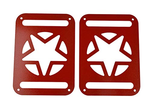 WYYINLI Taillight Protector Guards Cover 2pack Rear Side Tail Lamp Cover for Jeep Wrangle JK & Unlimited 2007-2018 (Red)