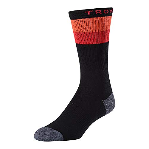 Troy Lee Designs Corsa Crew Sock woven strips & Troy Lee at top and Logo on bed (Black/Orange/Red/Gray, 10-13) by Troy Lee Designs