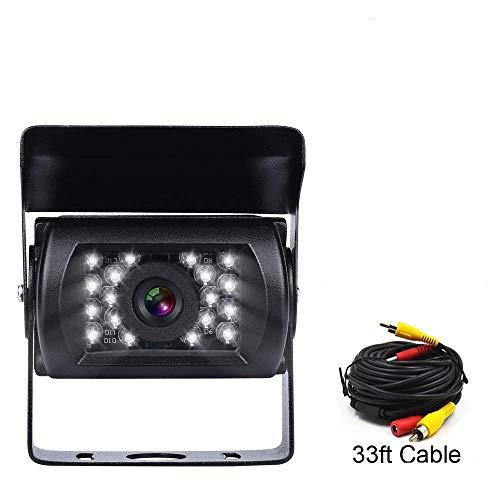 420 Tv Line 24 Led - Backup Camera with 18 LED IR Night Vision Waterproof 33 ft Length 9V-24V Rear View Camera for Truck/Car/Bus/RV/Van/Caravan/Trailers