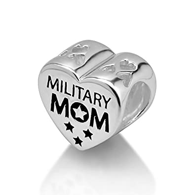 dbd1cf98a Amazon.com: 925 Sterling Silver American Flag Heart Military Mom Bead Charm:  Pandora Style Beads Mom: Jewelry