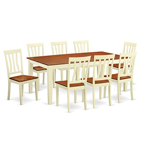 East West Furniture QUAN9-WHI-W 9 Piece Dining Table with 8 Wooden Chairs Set