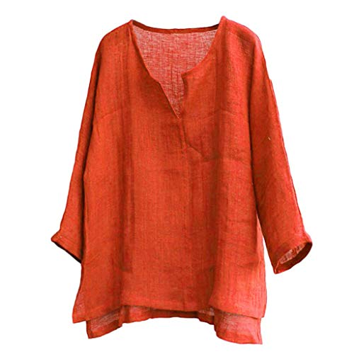♡Londony♡ Men's T-Shirt 100% Cotton Linen Hippie Shirt V-Neck Beach Yoga Top Casual Long Sleeve Solid Style Tee Blouse Orange