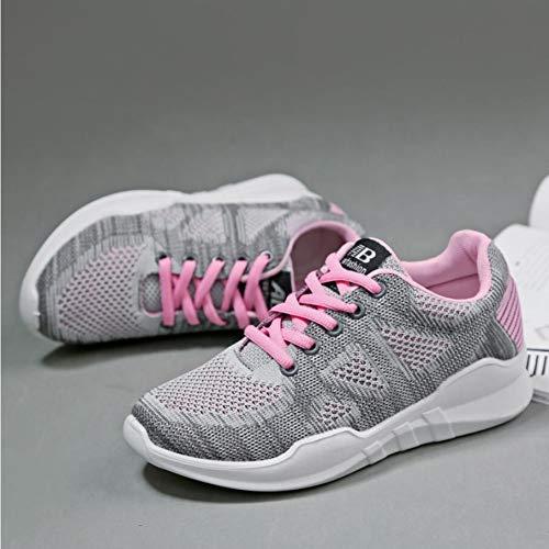 Planos Femenina Mesh Moda Mujer Lacing Ocio Transpirable Casual Feminidad pink Mesh Zapatos GUNAINDMX xAgwpZP