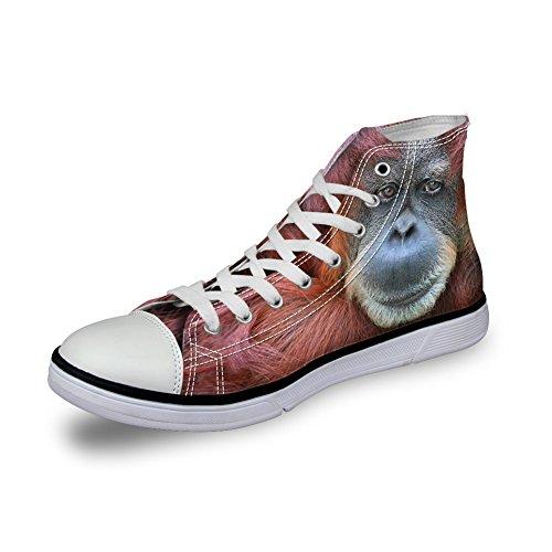 Bigcardesigns Heren Casual Hoge Top Canvas Schoenen 3d Dieren Veter Sneakers Dier