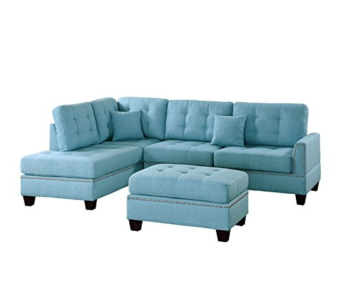 Poundex PDEX- Sofas, Light Blue - Seat Cushion Filled with foam and inner Spring for durability and comfort Tufted Seat and Back Designer carefully selected linen-like polyfabric for wear ability, seam strength, beauty and comfort - sofas-couches, living-room-furniture, living-room - 41vUoG7Td0L -