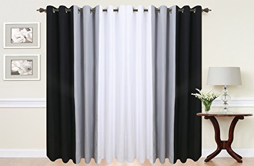 PAIR OF 3 TONE FULLY LINED EYELET CURTAINS IN VARIOUS COLOURS BLACK WHITE