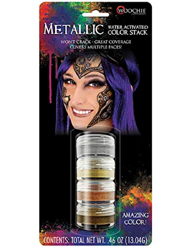 Woochie Water Activated Makeup Stack - Professional Quality Halloween and Costume Makeup - Metallic]()