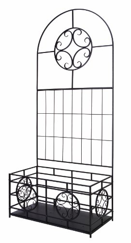 Panacea 84545 Trellis with Planter Box Kit and Coco Liner, 76-Inch Height by 32-Inch Width by 16-Inch Diameter, Black