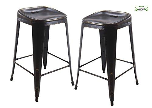 30' Iron Swivel Bar Stools (Vogue Furniture Direct Metals 30'' backless metal stool in Matt black&gold, fully assembled (Set of 2) VF1671001)