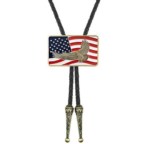 QUKE Native American Pride Victory Bald Eagle USA Flag Bolo Tie Genunie Leather