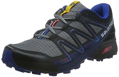 Salomon Men's Speedcross Vario Trail Runner, Pearl Grey/Black/Bright Blue, 7 D US