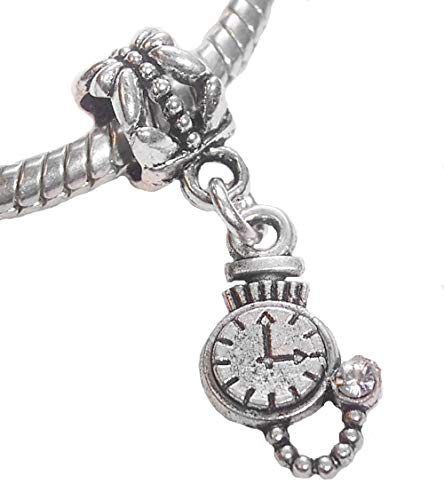 - Pocket Watch Rhinestone Stopwatch Clock Timer Dangle Charm for European Bracelet Crafting Key Chain Bracelet Necklace Jewelry Accessories Pendants