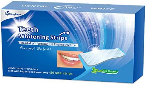 MayBeau Teeth Whitening Strips, 56 Packs 3D Teeth Whitening Kits Gentle Teeth Whitener Whitestrips for Sensitive Teeth, 28 Days Treatment for Teeth Whitening Stain Removal