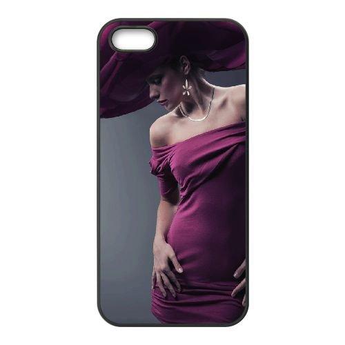 Girl Model Dress Hat coque iPhone 5 5S cellulaire cas coque de téléphone cas téléphone cellulaire noir couvercle EOKXLLNCD24005