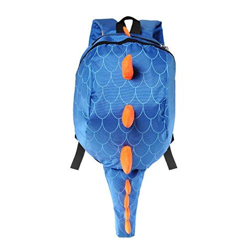 Price comparison product image Deer Mum Children's Backpack 3d Cute Little Dinosaur Schoolbag Toddler Kids Daypack (Blue)