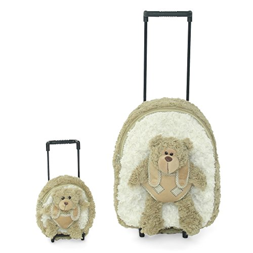 18-inch Doll Luggage | Girl and Doll Matching Backpack / Trolley Set with Detachable Teddy Bears | Fits American Girl Dolls