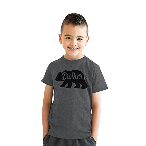 Youth Brother Bear Tshirt Cute Funny Family Sibling Tee for Kids (Dark Heather Grey) - M