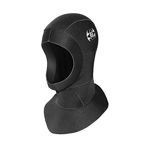DiNeop Wetsuit Scuba Hood Neoprene Dive Hood 3MM for Men Women, Vented Bib Diving Cap Thermal Flexible Protection for Surfing Snorkeling Kayaking Swimming Sailing Canoeing Water Sports (Black, L)